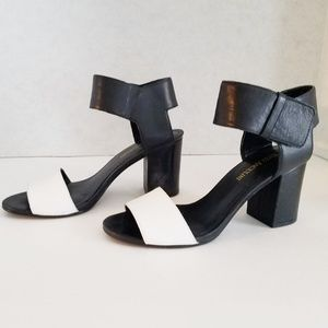 Enzo Angiolini Black & White Block Heel Sandals